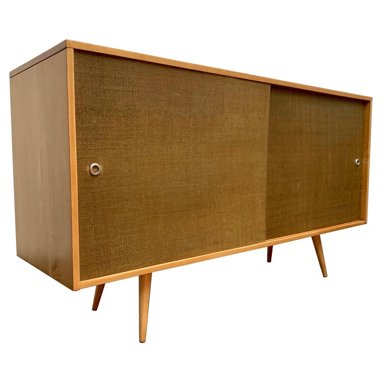 Paul McCobb Planner Group Cabinet with Original Grasscloth Doors For Sale