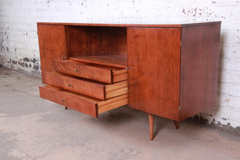Brass Paul McCobb Planner Group Credenza or Media Cabinet, Newly Refinished For Sale
