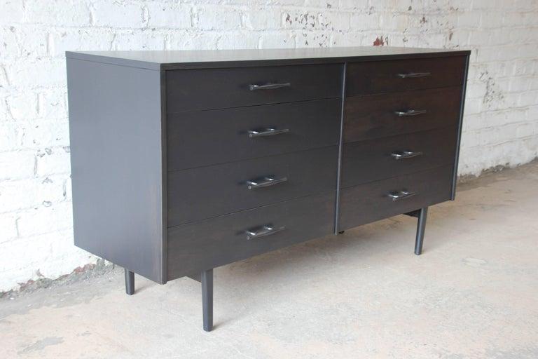 Birch Paul McCobb Planner Group Ebonized Eight-Drawer Dresser or Credenza For Sale