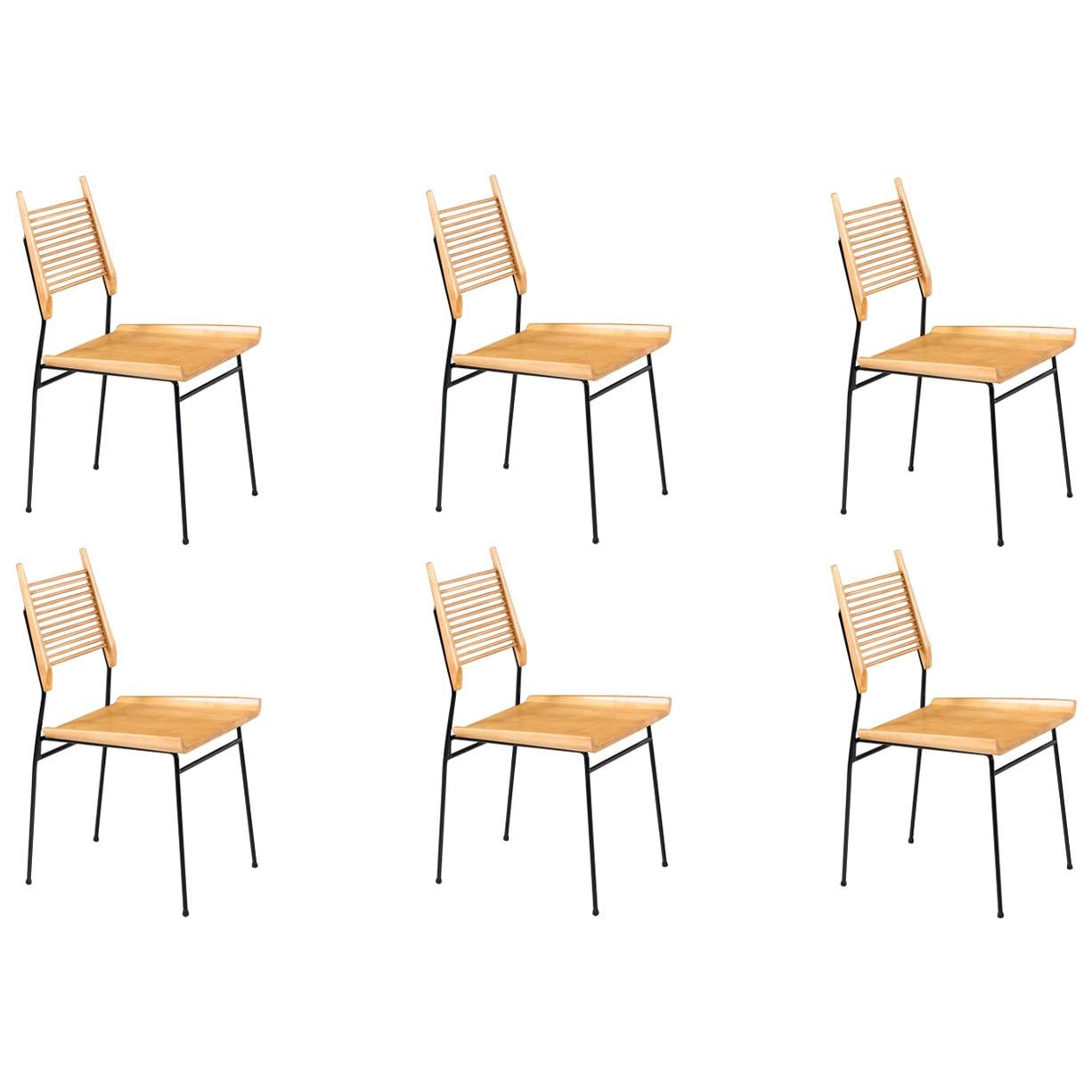 """Paul McCobb """"Planner Group"""" Iron & Maple Dining Chairs for Winchendon Furniture"""
