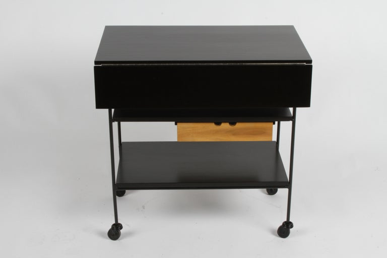 Mid-Century Modern Paul McCobb Planner Group Maple and Iron Flip Top Bar Cart in Dark Ebony For Sale