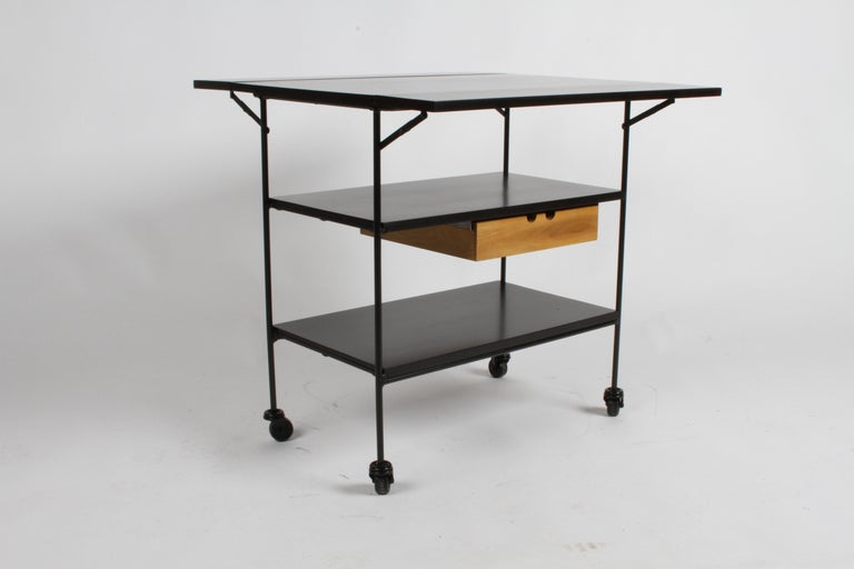 Mid-20th Century Paul McCobb Planner Group Maple and Iron Flip Top Bar Cart in Dark Ebony For Sale