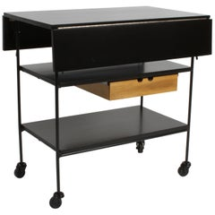 Paul McCobb Planner Group Maple and Iron Flip Top Bar Cart in Dark Ebony