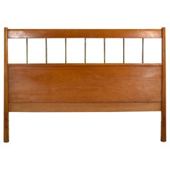 Paul McCobb Planner Group Mid-Century Modern Full-Size Headboard Brass and Birch