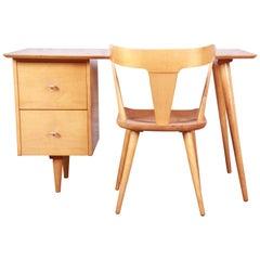 Paul McCobb Planner Group Mid-Century Modern Maple Desk and Chair, 1950s