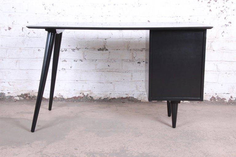 Paul McCobb Planner Group Midcentury Black Lacquered Writing Desk, Restored For Sale 5