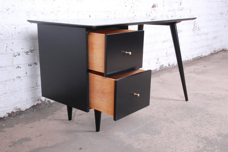Mid-20th Century Paul McCobb Planner Group Midcentury Black Lacquered Writing Desk, Restored For Sale