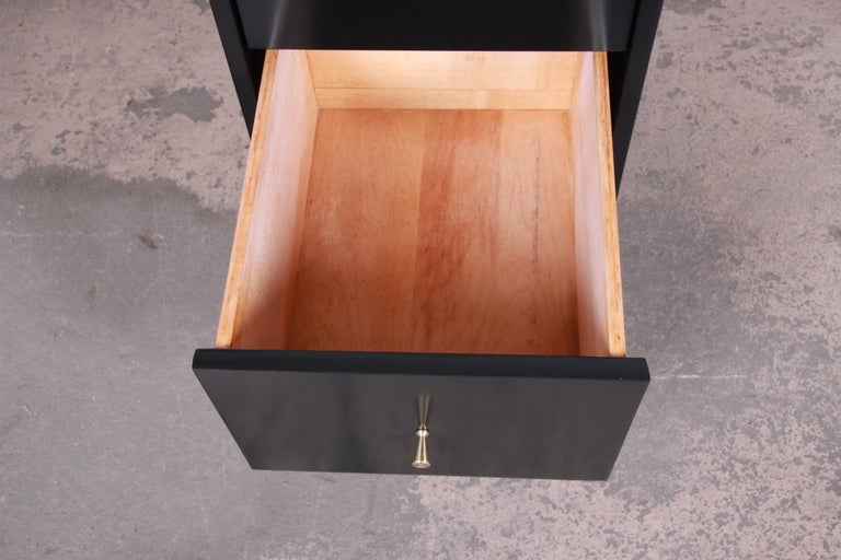 Brass Paul McCobb Planner Group Midcentury Black Lacquered Writing Desk, Restored For Sale