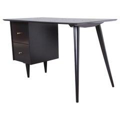 Paul McCobb Planner Group Midcentury Black Lacquered Writing Desk, Restored