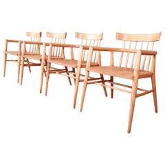 Paul McCobb Planner Group Solid Maple Spindle Back Armchairs, Set of Four