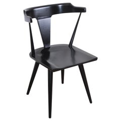 Paul McCobb Planner Group T-Back Black Lacquered Maple Dining Chair, Restored
