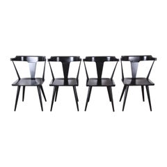 Paul McCobb Planner Group T-Back Black Lacquered Maple Dining Chairs, Set of 4