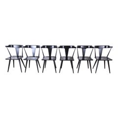 Paul McCobb Planner Group T-Back Black Lacquered Maple Dining Chairs, Set of 6
