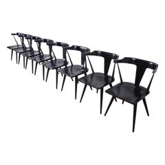 Paul McCobb Planner Group T-Back Black Lacquered Maple Dining Chairs, Set of 8