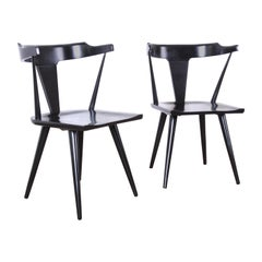 Paul McCobb Planner Group T-Back Black Lacquered Solid Maple Dining Chairs, Pair