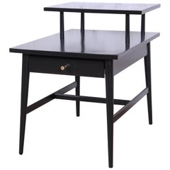 Paul McCobb Planner Group Two-Tier Ebonized End Table or Nightstand, 1950s