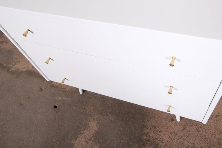 Mid-20th Century Paul McCobb Planner Group White Lacquered Chest or Large Nightstand, Restored For Sale