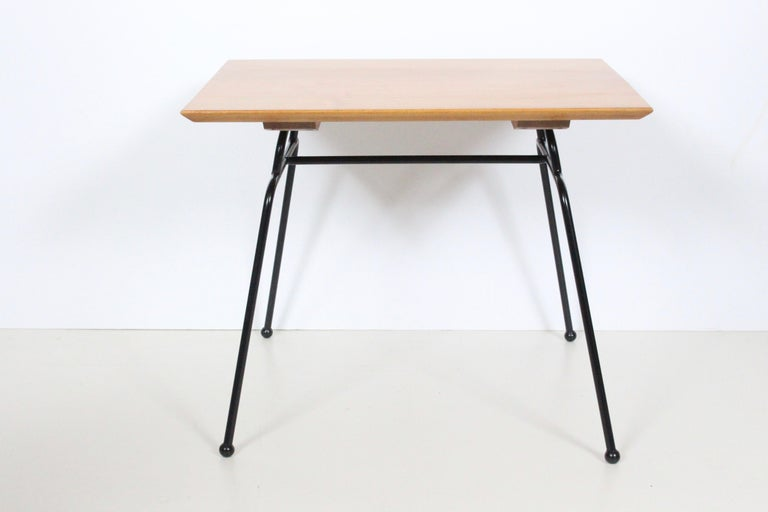 Paul McCobb Planner Group Wrought Iron & Birch Occasional Table, C. 1950 In Good Condition For Sale In Bainbridge, NY