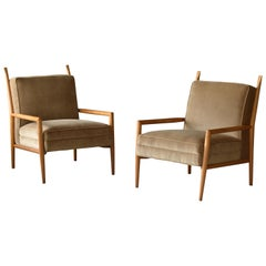 "Paul McCobb, ""Planner"" Lounge Chairs, Velvet, Maple, Custom Craft, Inc 1954"