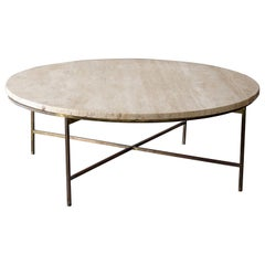Paul McCobb, Rare Sizable Cocktail Table, Brass, Travertine for Calvin Furniture