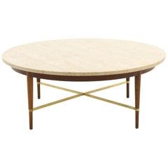Paul McCobb Round Coffee Table, Travertine, Walnut, and Brass Cross Stretchers