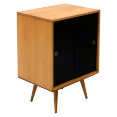 Paul McCobb Small Cabinet on Table Base with Sliding Doors, One-Shelf, Restored