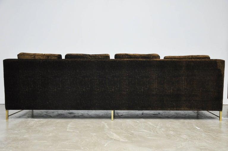 Paul McCobb Sofa on Brass Bases For Sale 4