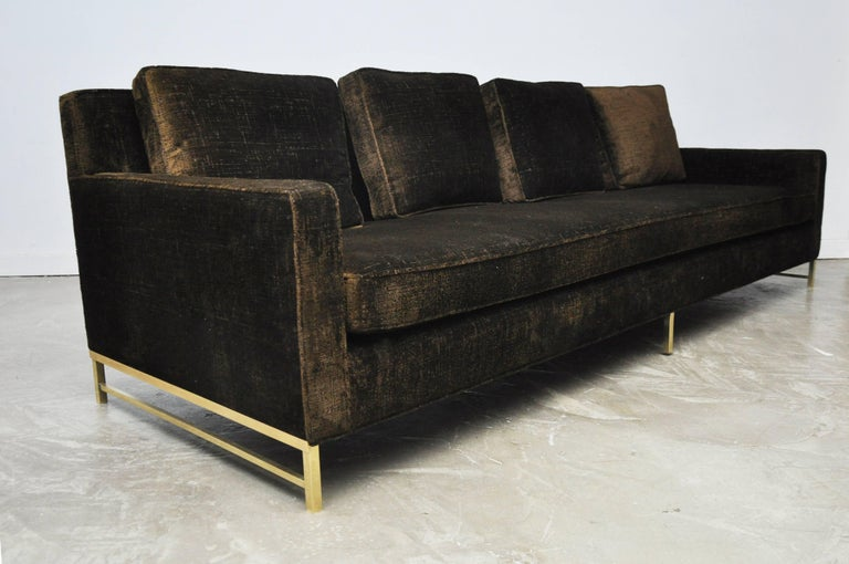 Paul McCobb Sofa on Brass Bases In Excellent Condition For Sale In Chicago, IL