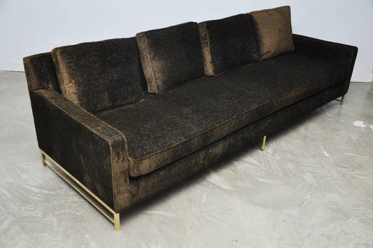 Paul McCobb Sofa on Brass Bases For Sale 1