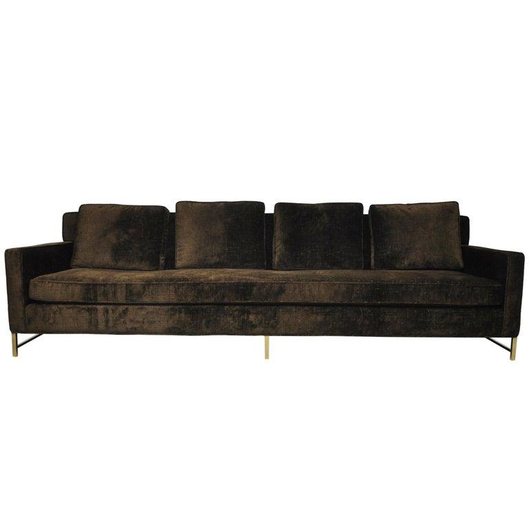 Paul McCobb Sofa on Brass Bases For Sale