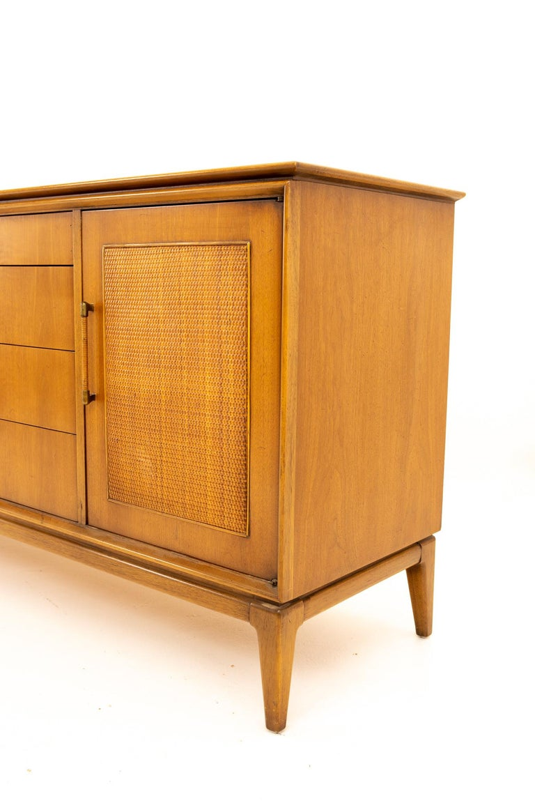 Paul McCobb Style Century Furniture Walnut and Cane 12-Drawer Lowboy Dresser In Good Condition In La Grange, IL