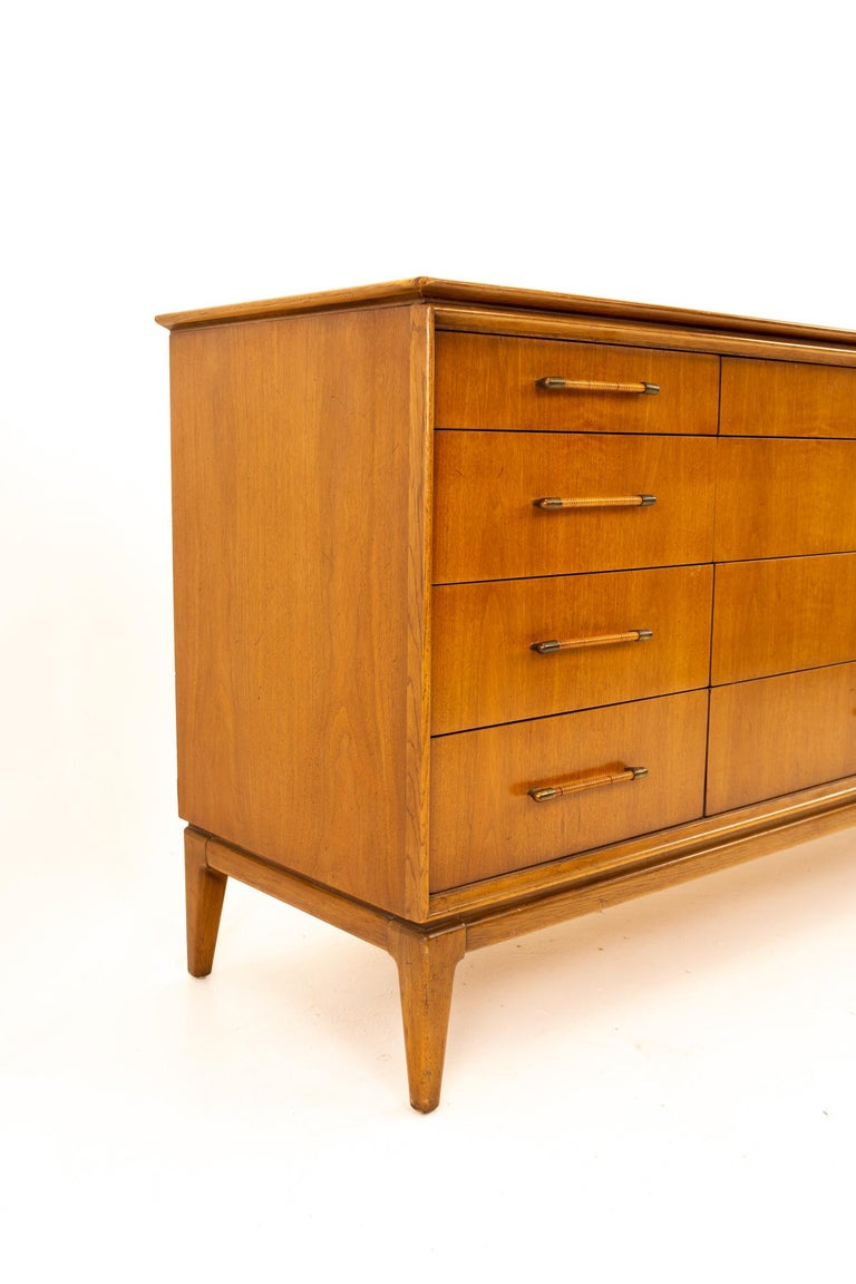 Late 20th Century Paul McCobb Style Century Furniture Walnut and Cane 12-Drawer Lowboy Dresser