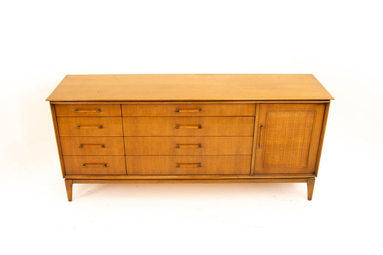 Paul McCobb Style Century Furniture Walnut and Cane 12-Drawer Lowboy Dresser 3