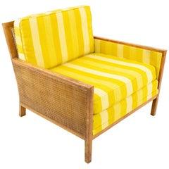 Milo Baughman Midcentury Walnut & Cane Club Lounge Chair