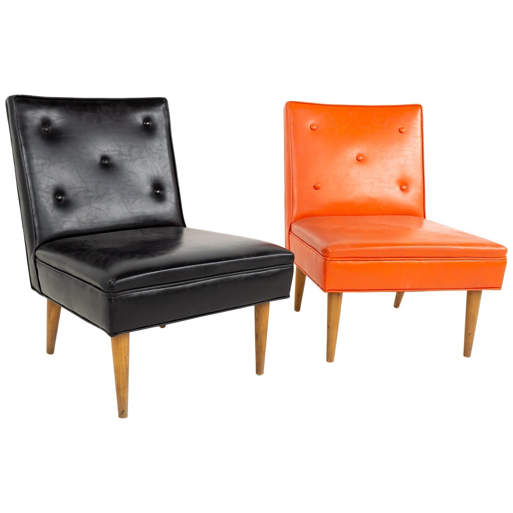 Paul McCobb Style Mid Century Slipper Lounge Chairs - a Pair