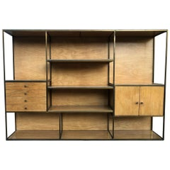 Paul McCobb Style Midcentury Low Brass Bookcase Room Divider Shelf Unit 4-Drawer