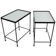 Paul McCobb Style Pair Blackened Iron and White Glass Occasional Side Tables