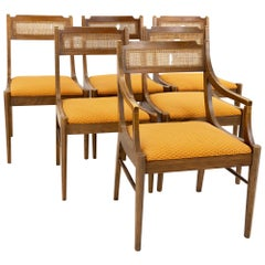 Paul McCobb Style Walnut & Cane Dining Chairs, Set of 6