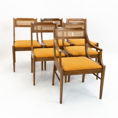 Paul McCobb Style Walnut & Cane Dining Chairs - set of 6