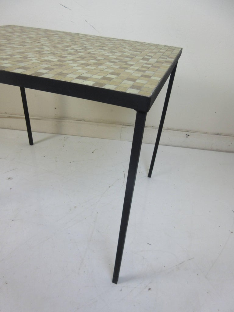American Paul McCobb Tile-Top Wrought Iron Table For Sale