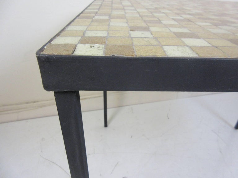 Paul McCobb Tile-Top Wrought Iron Table In Excellent Condition For Sale In Philadelphia, PA