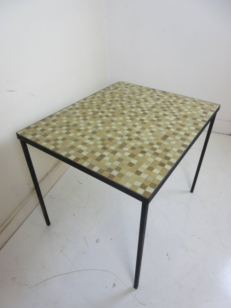 Mid-20th Century Paul McCobb Tile-Top Wrought Iron Table For Sale