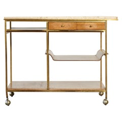 Paul McCobb Travertine and Brass Bar Cart, Produced by Calvin, USA, 1950s