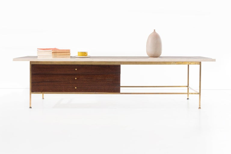 Mid-Century Modern Paul McCobb Travertine Coffee Table For Sale