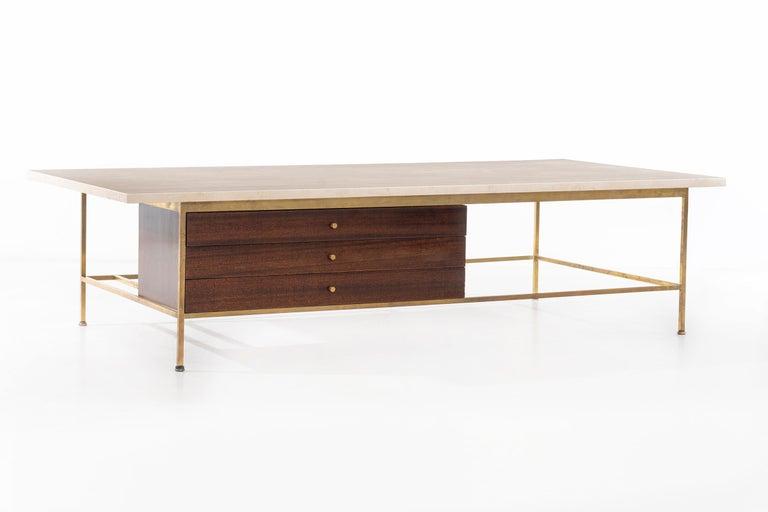 American Paul McCobb Travertine Coffee Table For Sale