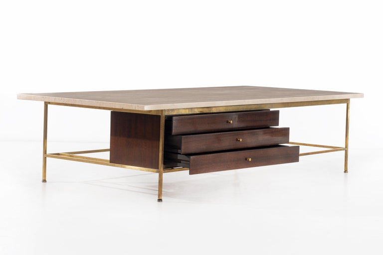 Oiled Paul McCobb Travertine Coffee Table For Sale