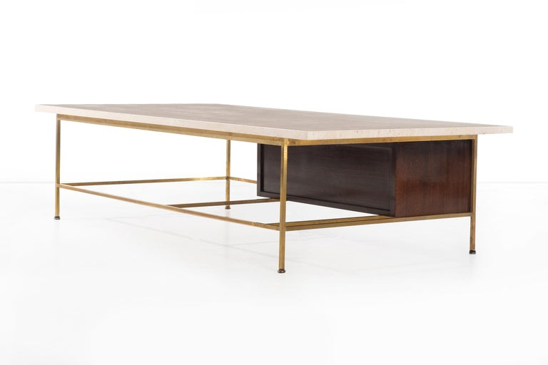 Mid-20th Century Paul McCobb Travertine Coffee Table For Sale