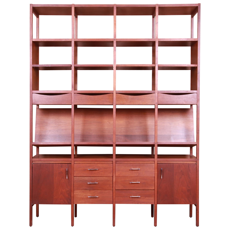 Paul McCobb Walnut Bookshelf Wall Unit or Room Divider, 1960s