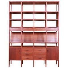 Paul McCobb Walnut Bookshelf Wall Unit or Room Divider, 1960s