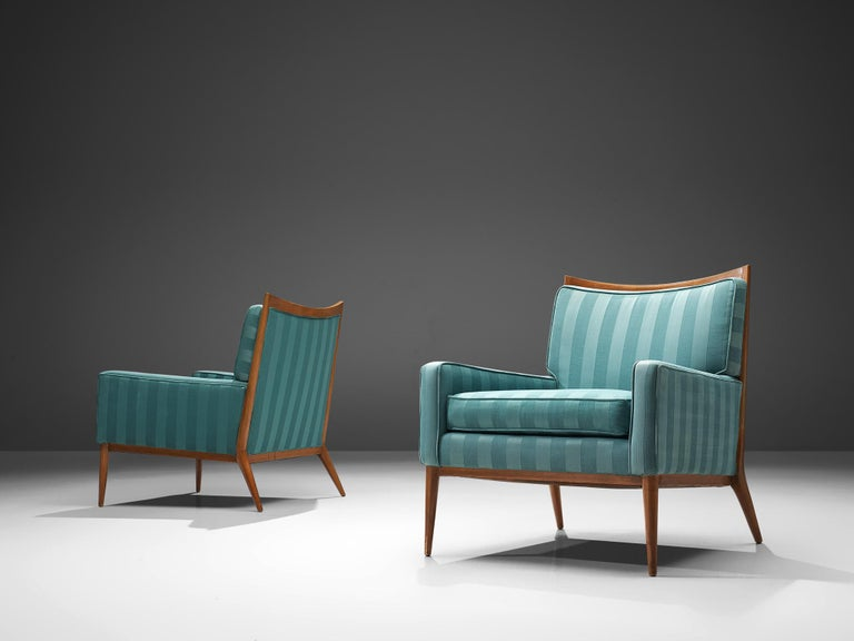 Paul McCobb for Directional Designs, lounge chair model 1322, walnut and blue fabric, 1950s. 